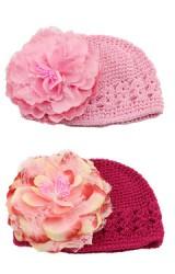 หมวกถักแต่งดอกโบตั๋นดอกใหญ่
