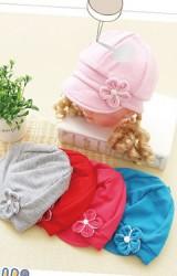 หมวกแก๊ปเด็กเล็ก แต่งดอกไม้ด้านหน้า