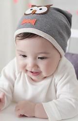 หมวกเด็กแต่งรูปนกฮูกผูกโบว์น่ารัก